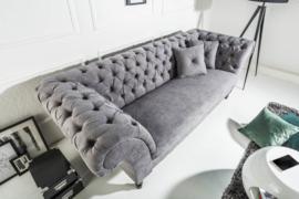 Elegante Chesterfield 3-zits bank PARIS 225 cm grijs 3-zits met 2 kussens