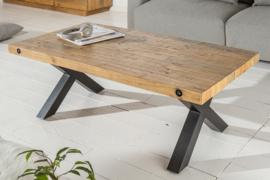 Massieve salontafel THOR 110cm naturel gerecycled grenen industrieel design X-frame