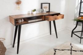 Industriële console tafel of bureau tafel NDUSTRIAL 120cm Mango met zwarte poten