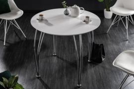 Moderne eettafel ARRONDI 90 cm wit chroom ronde bistrotafel