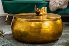 Handgemaakte salontafel ORIENT STORAGE 70cm goud gehamerd design met opbergruimte
