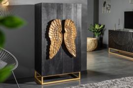 Extravagante highboard ANGEL 70 cm zwart mangohout met gouden vleugels