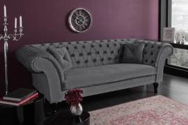 Elegante Chesterfield 3-zits bank PARIS 225cm fluweel stof zilvergrijs met 2 kussens