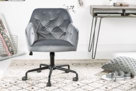 In hoogte verstelbare bureaustoel grijs fluweel met doorgestikte stiksels