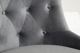 Chesterfield bureaustoel VICTOR fluweel zilvergrijs met armleuning