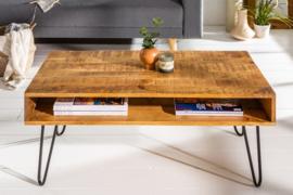 Massieve salontafel SCORPION 100 cm natuurlijke mangohouten haarspeldpoten