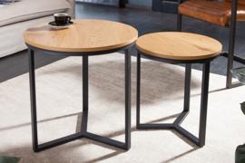 Design bijzettafel set van 2 STUDIO 50cm eiken look industriële stijl