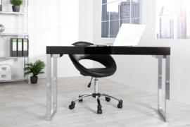 Design console ZWART BUREAU 120 cm zwart hoogglans kantoortafel