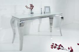 Stijlvolle design Side tafel of bureau  MODERN BAROCK 140cm roestvrij staal met tafelblad in wit opaalglas