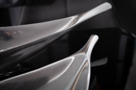 Moderne decoratieve schaal SILVER LEAF 41 cm zilver aluminium