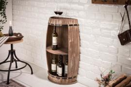 Elegante plank BODEGA 79 cm naturel half wijnvat Shabby Chic