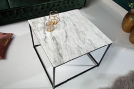Elegante salontafel ELEMENTS 50cm wit met een gepolijst marmeren blad