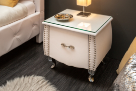 Elegant nachtkastje EXTRAVAGANCIA 47 cm wit nachtkastje met lade
