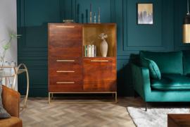Massief highboard RECHT 120 cm acaciahout bruin goud retro stijl
