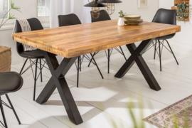 Massieve eettafel IRON CRAFT 160 cm mangohout industrieel design met X-poten