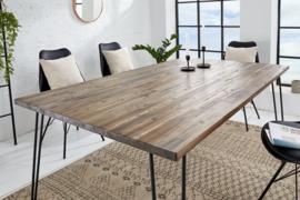 Retro eettafel SCORPION 160 cm acacia bruin verweerde haarspeldpoten