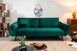 Retro slaapbank DIVANI 215 cm smaragdgroene fluwelen 3-zitsbank met bedfunctie