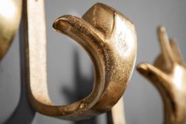 Extravagante kapstokhaken FINGERS goud set van 3 wandkapstok