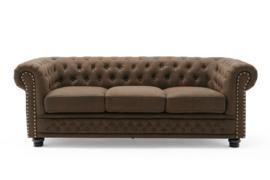 Chesterfield 3-zitsbank 200 cm vintage bruin 3-zits met knoopsluiting en veerkern