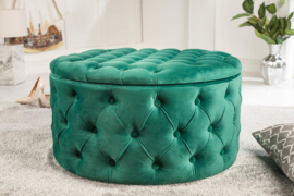 Poef MODERN BAROQUE 75 cm smaragdgroen met opbergruimte