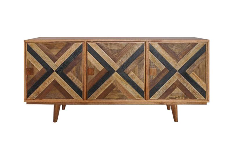 Elegant dressoir LONG ISLAND Mangohouten look 160 cm met retro patroon