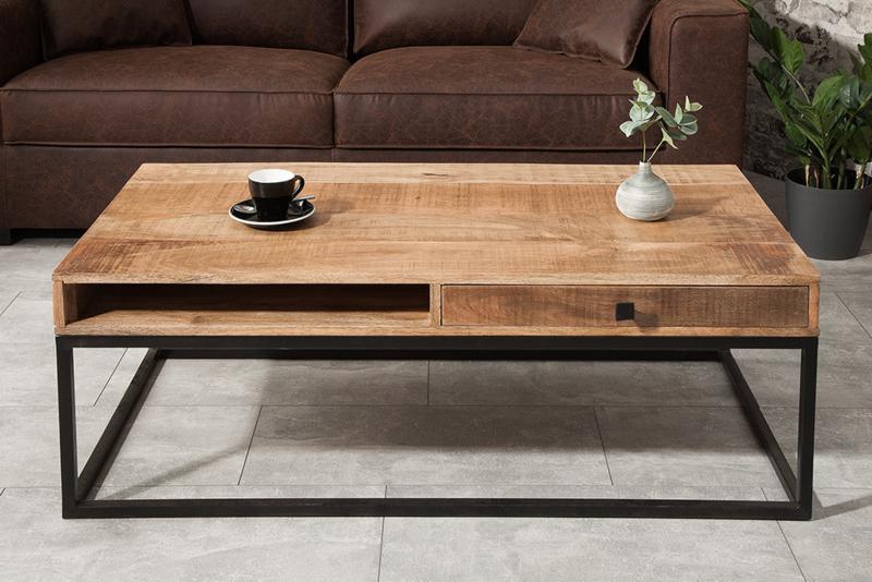 Massieve Salon Tafel.Massieve Salontafel Iron Craft 115 Cm Mangohout Met Laden