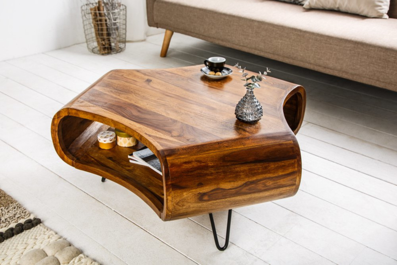 Massieve salontafel SPIN Sheesham Rosewood Haarspeldpoten LEVERBAAR IN SEPTEMBER