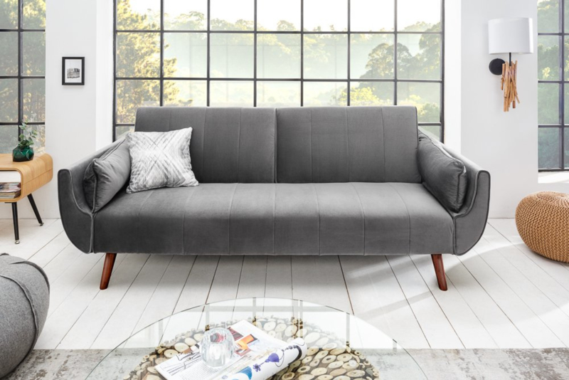 Design Schlafsofa DIVANI 215cm silbergrau Samt Bettfunktion 3er Sofa Retro Design