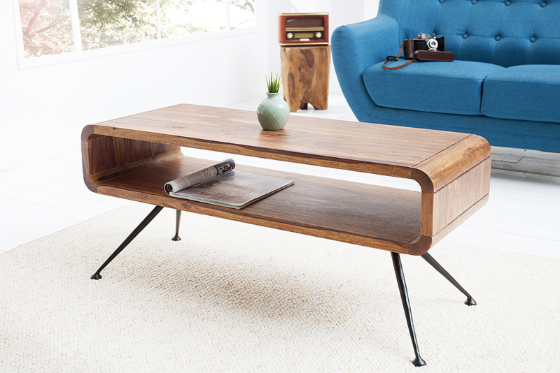 Design salontafel ALPHA 100cm Sheesham Stone finish retro design
