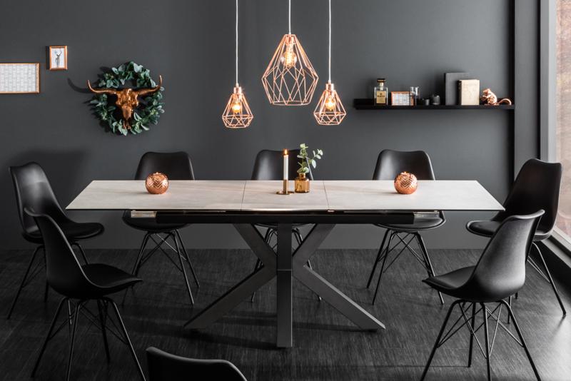 Moderne keramische eettafel ETERNITY 180-225cm uitschuifbaar betonlook  Leverbaar in November