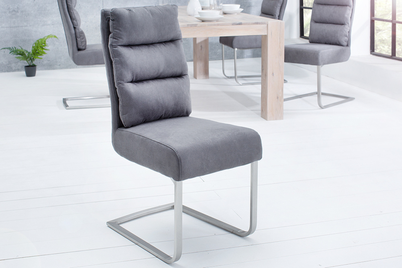 Design sledestoel COMFORT vintage grijs met RVS frame