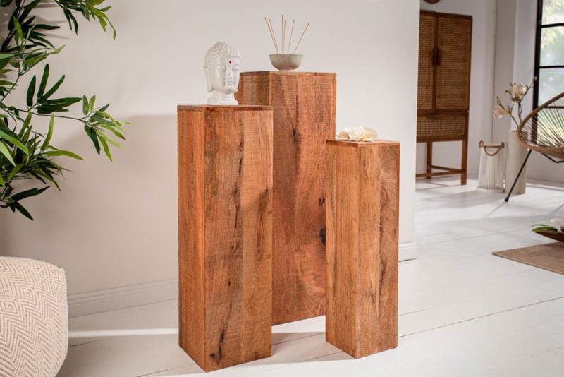 Design deco pilaar  set van 3 MAKASSAR 80 cm handgemaakt mangohout