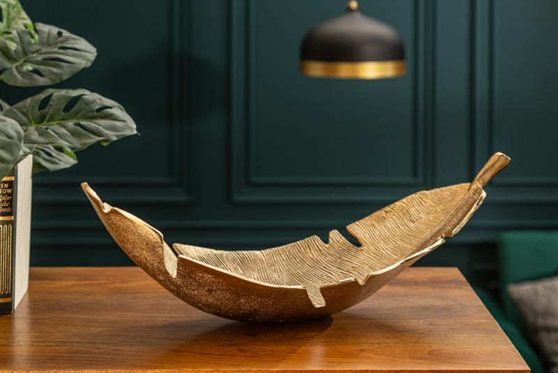 Design decoratieve schaal GOUD BLAD 62 cm goud met bladmotief