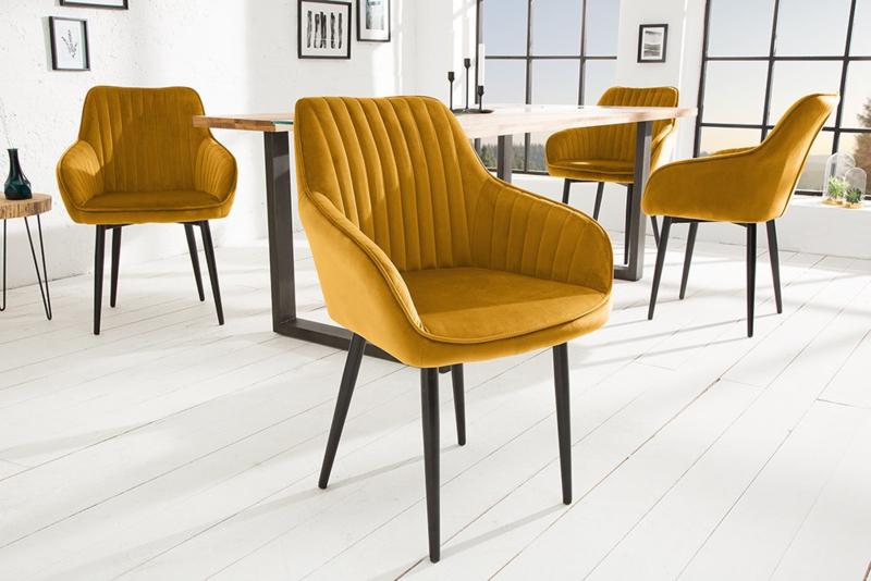 Edele fauteuil TURIN mosterdgeel fluweel met sierstiksels