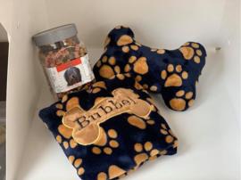 Puppypakket Welness Fleece,JBone,nestdoek en 550 gram beloningssnoepjes