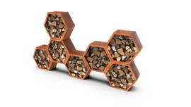 Houtopslag zeskant/honinggraad cortenstaal