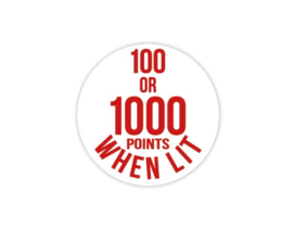 Cap Decal 100 Or 1000 Points When Lit Rood (nieuw)