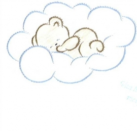 beertje in blauwe wolk