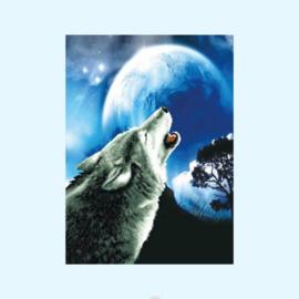Borduurpakket howling wolf - Needleart World voorbedrukt