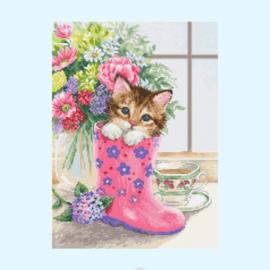 Borduurpakket pretty kitten - Luca S