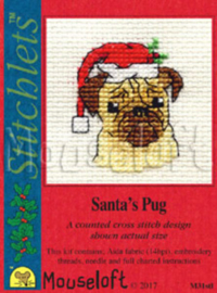 Borduurpakket mouseloft Santa's pug ML-004-M31