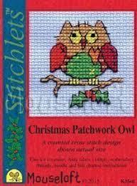 Borduurpakket Christmas patchwork owl - Mouseloft