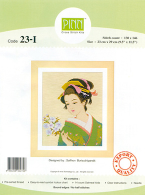 Borduurpakket Japanese beauty flowers in the hand - Pinn