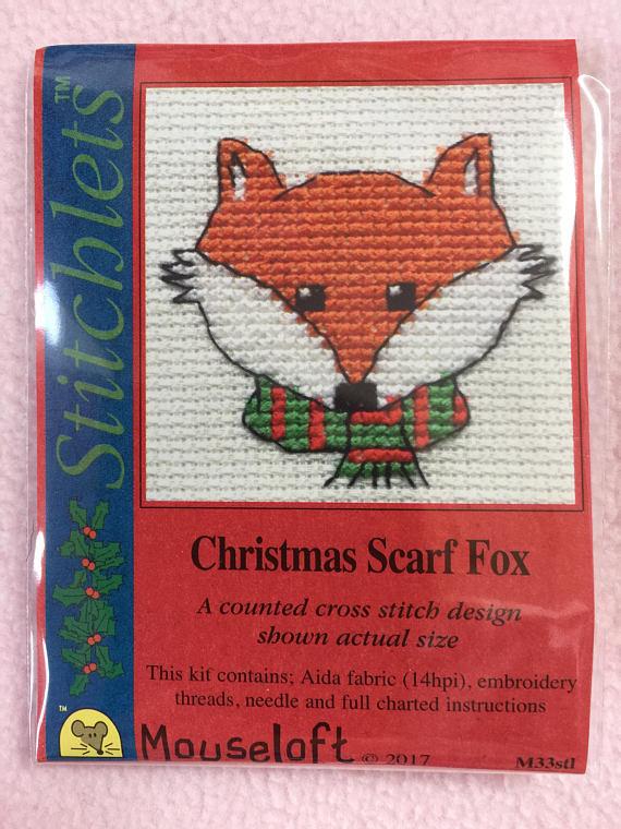 Borduurpakket Christmas scarf fox - Mouseloft