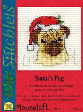 Borduurpakket Santa's pug - Mouseloft