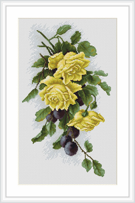 Borduurpakket yellow roses with plums - Lucas S