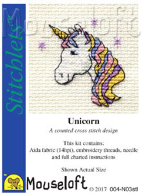 Borduurpakket unicorn with rainbow - Mouseloft