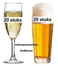 20 champagne glazen + 20 fluitjes