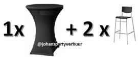 1 Statafel  +  Zwarte  rok + 2 Barkrukken