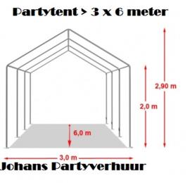 Tent 3 x 6 + 8 Krukken + 4 statafels zelf opbouwen en afbreken